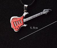 Wholesale Guitars South Korea - Men Necklaces Pendants Enamel Guitar Metal Charms Korea Wax Rope Chains Necklaces For Women Free Shipping