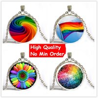 Wholesale American Flag Pendant Free - Colorful Rainbow Flower Buttons Flag Crystal Pendant Necklace Jewelry Wholesale Fashion Necklaces For Gay 2017 New Free Shipping NS067