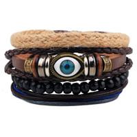 Wholesale Greek Eye Bracelets - Wholesale- 1Set 4pcs Punk Leather Devil Greek Eyes Friendship Bracelets for Male Beads Braclet Mens Braslet Pulseras Hombre Bileklik Erkek
