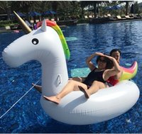 bateaux de sport gonflables achat en gros de-Adultes Giant Unicorn Pool Float Inflatable Baby Unicorn Natation Ring Seat Boat Water Sport Bouée Fun Beach Toys