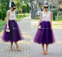 Wholesale Tulle Skirts For Adults - Fashion Regency Purple Tulle Skirts For Women Midi Length High Waist Puffy Formal Party Skirts Tutu Adult Skirts