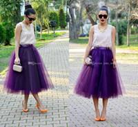 faldas tutu para adultos al por mayor-Moda Regency Purple Tulle Faldas para Mujeres Midi Longitud Cintura Alta Puffy Formal Party Faldas Tutu Faldas para Adultos