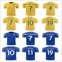 Wholesale David Luiz - Brazil Soccer Jersey 3 T.SILVA 10 NEYMAR JR 4 DAVID LUIZ 10 PELE 6 MARCELO RONALDINHO 11 OSCAR 22 COUTONHO Football Shirt