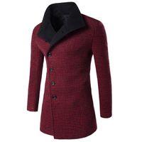 Wholesale Big Buttoned Trench Coat - Wholesale- 2016 Winter Trench Coat Men Big Collar Outerwear Swallow Gird Pattern Casual Coat Men's Jacket Windbreaker Men Trench Coat