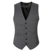 знаменитые жилеты оптовых-Wholesale- 2016  slim fit striped dress vests for men good qaulity mens suit vest male waistcoat casual size 3xl