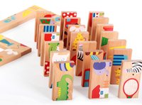 Cartoon Animal Pattern Wooden Puzzle Domino Toys 28pcs / Set Enfants Standard Domino Kids Early Education Intelligence Development