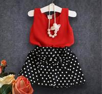 Wholesale Cheap Dresses Korea - 2017 New Fashion Top Red Sleeveless T shirt Black White Dot Printed Dresses Korea Style Summer Girls Dresses Cheap Baby Clothing MC0625