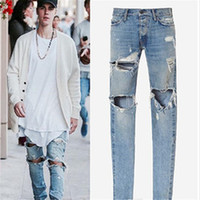 Wholesale Designer Jumpsuit - Fear Of God KANYE Justin Bieber Men Jeans Ripped Jeans Blue Rock Star Mens Jumpsuit Designer Denim Male Pants