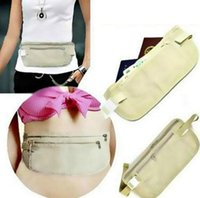 Wholesale Hidden Money Waist Belt - wallets Travel Security Money Ticket Passport Holder waist packs Belt purse bag Hidden Wallet Passport Travel Bag KKA2042