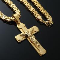 jesus quente pingentes de jóias venda por atacado-2017 Venda Quente dos homens de Aço Inoxidável Colar de Corrente Cruz de Ouro 18 K Preenchido Jesus Homens Pingente de Cadeia de Jóias Cristãs presentes