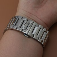 Wholesale Steel Butterfly Bracelets - New Stainless steel Watchbands Bracelet big size Silver color Watch band strap with butterfly buckle deployment straight end 24mm 26 28 30mm