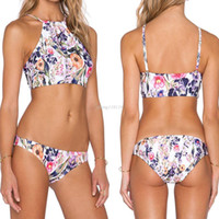 Wholesale Brazilian Neck - 2017 Swimsuit Bathing Suit Floral Bikini Set Sexy High Neck Swimwear Women Bikinis Halter Brazilian Biquini Maillot De Bain