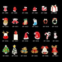 Wholesale Glitter Christmas Decorations - 16 designs christmas nail art decorations nail studs snowman alloy 3d glitters art nail unas jewelry supplies