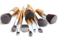 ingrosso migliori set di spazzole-11pcs / set Spazzola di trucco di bambù Maniglia di trucco professionale Cosmetici Make Up Brush Set In magazzino La migliore qualità