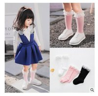 Wholesale Child Lace Ruffle Socks - Lace Socks Knee-High Kids Baby Girls Sock Cotton Anti-slip Children Breathable Socks Lace Ruffle 3 Styles Top Quality DHL Free Shipping