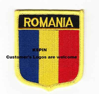 Wholesale Wholesale Romania - Romania Shield Shape Flag patches embroidered flag patches national flag patches Free Shipping 0002
