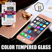 Wholesale Iphone Back Plates - For iPhone 7 6s 6 6plus color plating tempered glass mirror colorful front and back screen protector cellphone colorful film with retail box
