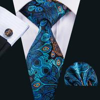 Fast Shipping Tie Set Silk School Ties Necktie Handkerchief Cuddlinks Set for Men Gift Set for Wedding Part BusinessN-1593