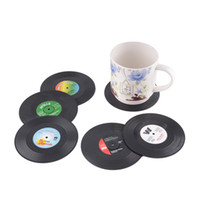 black coffee table set - 6 set Home Table Cup Mat Creative Decor Coffee Drink Placemat Spinning Retro Vinyl CD Placemats Table Pads Record Drinks Coasters