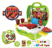 Wholesale Pizza Set - 7 style Kid's Soft Montessori Pizza Makeup BBQ Medical Classic Pretend Play Toy Set Non-Electronic handcarry design plastic box YH525
