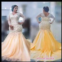 Wholesale wedding dress crystal beading designs - Designed Custom Made Mermaid Arabic Wedding Dresses With Beadings Sequined Top 2017 Sheer Long Sleeves Plus Size Bridal Gowns Vintage