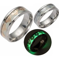 Band Rings original superman - 12pcs Original Superman Luminous Ring Stainless Steel Men Rings Glowing In dark Rings Party Jewelry Favor