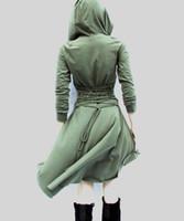 Wholesale Hooded Cloak Trench - Trench Style Dress Women Autumn Spring Hooded Slim Bandage Dresses Cloak Irregular Dressing