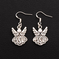 Wholesale Ornament Hooks - Angel Wing Earrings 925 Silver Fish Ear Hook 30pairs lot Antique Silver Chandelier Ornaments E216 39.2x15.4mm