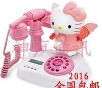 Wholesale Phones Landline - Hello kitty Caller ID Cartoon Cute landline phone Home telephone