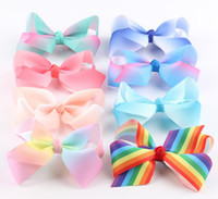 Wholesale Small Ribbon Bow For Hair - 5inch 12cm Rainbow Grosgrain Ribbon Baby Boutique Small Size Hair Bows WITH CLIP for Children Hair Accessories 16 Colors