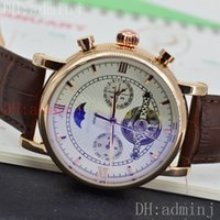 Wholesale Pin Sun - High quality man gold case white surface sun and moon star tourbillon style automatic calendar mechanical sports style luxury luxury watch