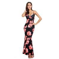 ingrosso abiti estivi della boemia-New Sexy Cotton Floral Maxi Dress Lungo Elegante Estate Boho Bohemian Print Ladies Casual Party Spaghetti Strap Mermaid