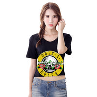 Wholesale Black Crop Sexy - women's t shirt Sexy t-shirts Rose & Gun Print Crop Top T-Shirt Cropped Tops Short Sleeve O-neck Tee Shirt plus size slim NV47 RF