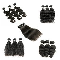 Wholesale Deep Waves Afro Hair - 4 Bundle Deals Brazilian Virgin Hair Body Wave Human Hair Weave Bundles Natural Brown Afro Kinky Curly Silky Straight Loose wave Deep Curly