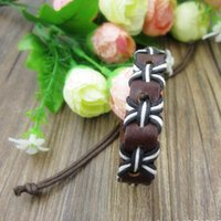 Wholesale Ms Wear - Hot sell ! 24pcs New Europe and the United States Men Ms Fashion Personality Wear hole Cowhide Hand-woven Adjustable Bracelet B-13