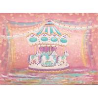 Wholesale photo spots - Carousel Photography Backdrops Pink Digital Printed Gold Spots Newborn Baby Shower Birthday Party Cartoon Photo Studio Background Vinyl