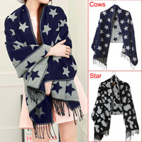 Acheter Grossiste en gros écharpe en hiver-Vente en gros - Mode 200x65cm Femmes Hiver Knit Wool Tassels Echarpe Five Pointed Star / Cows Print Soft Épaisses Chaud Grand Long Wrap Shawl