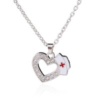Wholesale Wholesale Nurse Gifts - Fashion Simple Design Sliver Plated Nurse Cap Shape Necklace With Crystal Heart Pendant Graduation Gift Nursing Hat