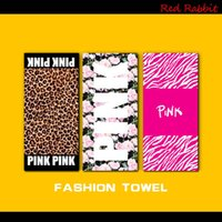 Wholesale Bathroom Textiles - Fashion Pink Letter Beach Towel Fitness Sports Towel VS Bath Towel Leopard Flower Swimwear Bathroom Towels Yoga SPA Towels Home Textiles 605