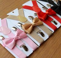 Wholesale Black Braces For Kids - Suspenders and Bow Tie Set Braces Elastic Y-back for Children Kids Red Pink Black Blue Boys Girls Suspenders and Bow Tie 626