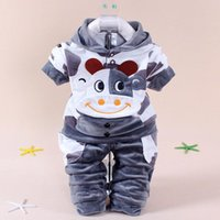 Wholesale Baby Clothes Model - 2017 autumn winter new models children's clothing Print cartoon dairy cows Velvet cotton 2 pieces baby suits for the 1-2 Y kids