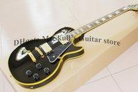 Wholesale Electric Guitar Yellow Inlay - OEM Guitars Gb lp custom electric guitar yellow pearl diamond inlay black lp custom guitar