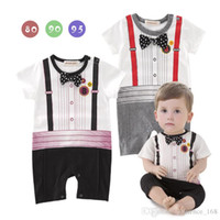 Wholesale america baby clothes for sale - Group buy Europe and America style new arrivals summer baby kids climbing romper cotton short sleeve Gentleman clothing romper boy kids romper kids
