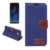 Wholesale Blue Jean Wallet - Jean Cloth Leather Wallet Case For Iphone 7 6 6s Plus Huwawei P10 Plus Samsung S8 Plus LG G6 Jean Folio Flip Cover With Card Slot OPPBAG