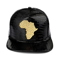 Wholesale Baseball Africa - Mens Baseball Cap 2017 Fashion Leather Snapbacks Hip Hop Caps Map Of Africa Hats For Men Women Adjustable Flat Hat