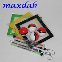 Wholesale pokeball wax jars for sale - Group buy Silicone Wax Kit Set with sheets pads mats ml pokeball silicon container dabber tool for dry herb jars dab