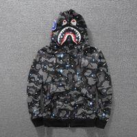 Wholesale Men S Hoody Jacket Coat - Off White Galaxy Hoodie Mans Jacket Shark Camo Zipper Coat A P E Hoodies Autumn Winter Off White Kanye Sharks Jaw Hip Hop Hoody S-2XL