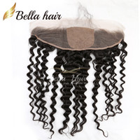 13 * 4 Deep Wave Lace Frontal com 4 * 4 Silk Base Closure Cabelo de cabelo humano brasileiro Natural Black Color Hair Extensions Bella Hair