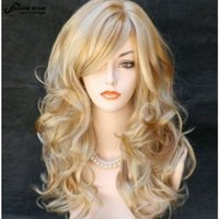 Wholesale Long Curly Blonde Pink Wigs - Fashion Blonde Wig with Bangs Highlight Hairstyle Long Wavy Curly Wig Perruque Synthetic Women Peruca Feminina Loira Party Wig Cosplay women
