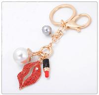 Wholesale Custom Crystal Ornaments - Custom Wholesale Women Pearl Lips Car Bag Key Chain Exquisite Lipstick Rhinestone Crystal Lady Metal Key Ring Ornaments Pendant Accessories